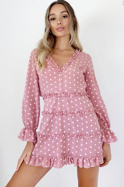 Rose Pink Polka Dot Skater Dress